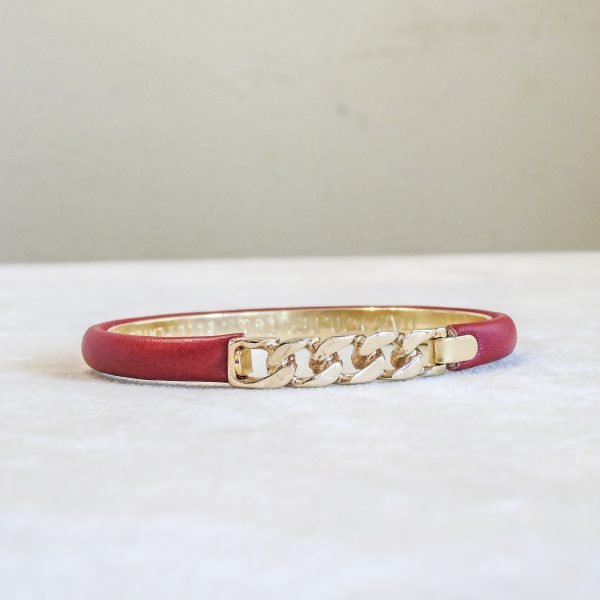 Bracelet in calf leather with gold plated Braided Closure