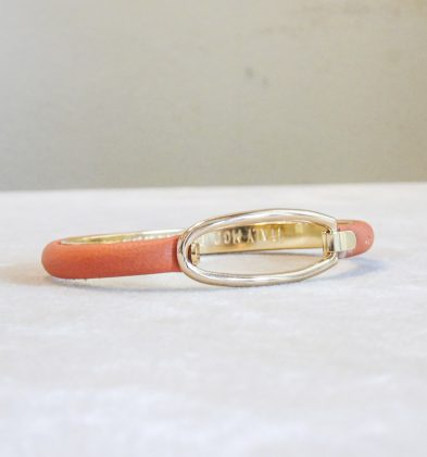 Bracelet in Calf Leather with Gold Plated Oval Closure