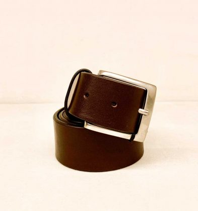 Genuine Calf Leather Belt Color chocolate brown