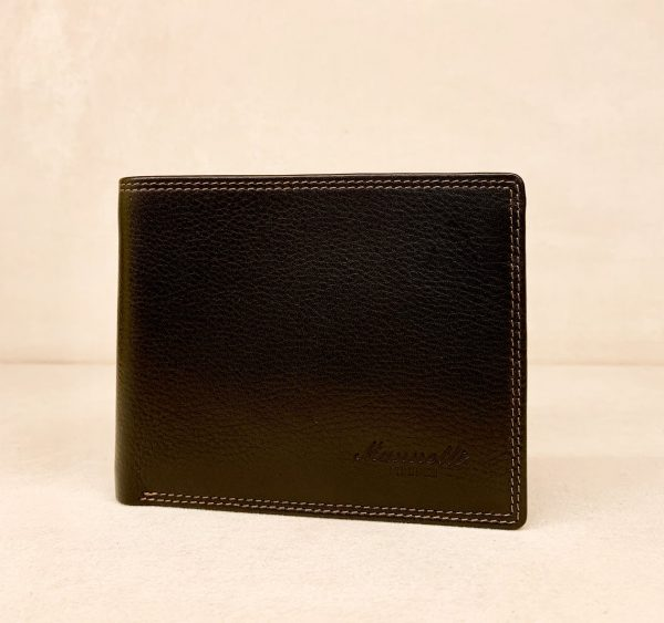 Calf Leather Wallet for Him MFW16 Black with Flap