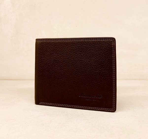 Calf Leather Wallet for Him MFW14 Brown with Flap